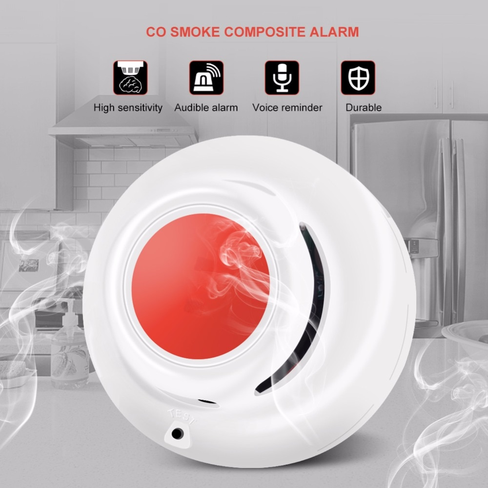 CO & Smoke Detectar função 2 em 1 Standalone Monóxido De Carbono CO Detector de Vazamento de Gás Tester Detector de Fumaça Com a Voz alarme de incêndio
