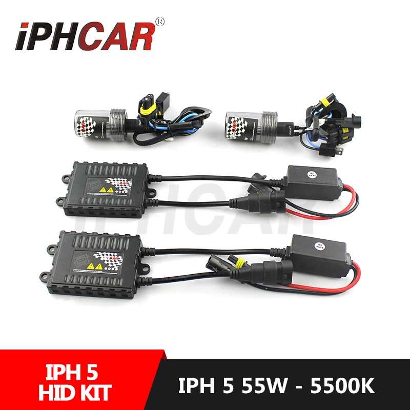 Envío Gratis IPHCAR estilo de coche 55W Kit de Xenón Hid para H1 lente del proyector de H1 H4 H7 H8 H11 9005 9006 Kit de Xenón HID AC lastre Delgado