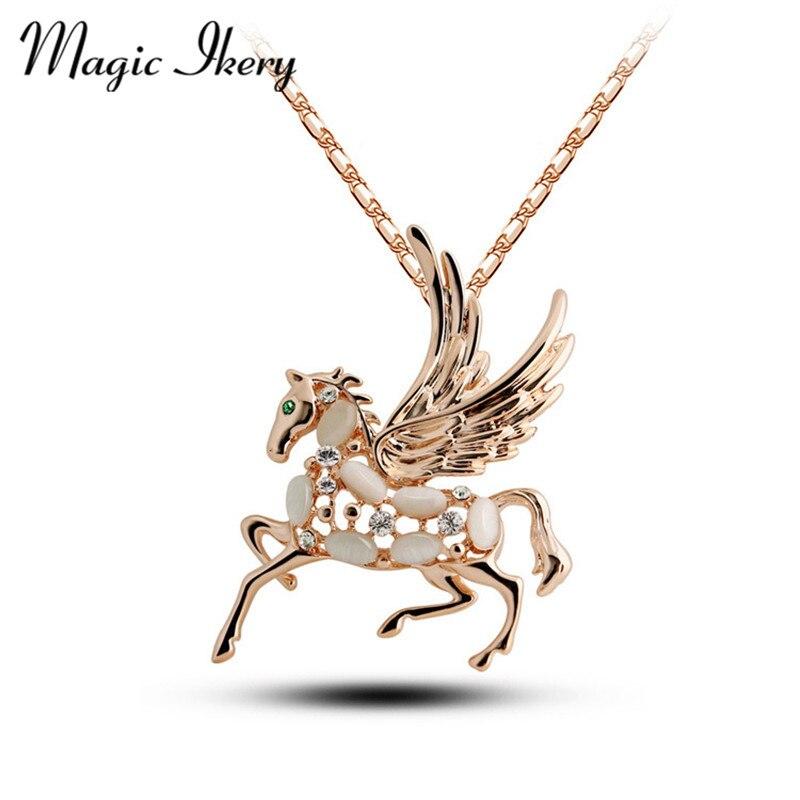 Magia Ikery Color oro Diamante de imitación cristal corto caballo ópalo collares colgantes venta al por mayor joyería de moda para mujeres MKL5047