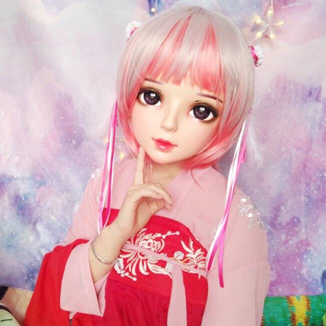 Feminino Doce Menina Resina Meia Cabeça Kigurumi Bjd Máscara Cosplay Anime Japonês Papel Lolita Boneca Crossdress Shi-07