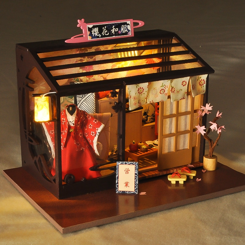 Miniature Cherry Blossoms Kimono Store Dollhouse Furniture Kits DIY Wooden Dolls House With LED Lights Children Birthday Gift