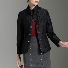BURDULLY 2020 New Spring Autumn Jacket Women Rhombus coat lapel Coat Cotton Jacket Outwear Warm Parka Womens Clothing