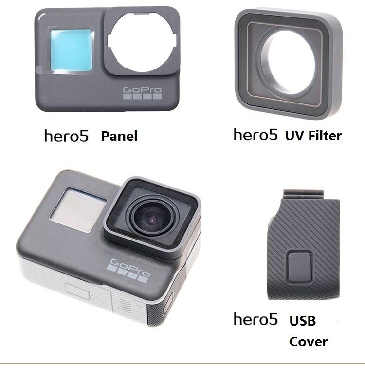 Para GoPro Hero 4 5 6 7 8 negro, accesorios originales, marco de puerta frontal, Panel frontal/filtro de vidrio UV para lente/funda de batería USB