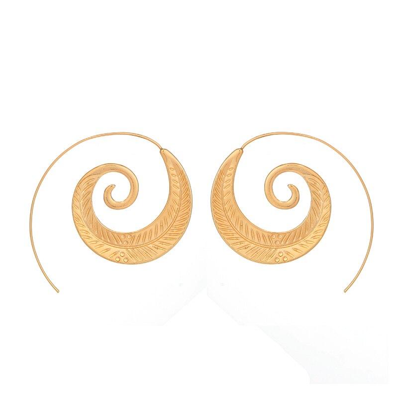 Pendientes colgantes en espiral redondos con personalidad Punk de docona, pendientes de engranajes de remolino con hoja de círculo muy grande, joyería para mujer 4200