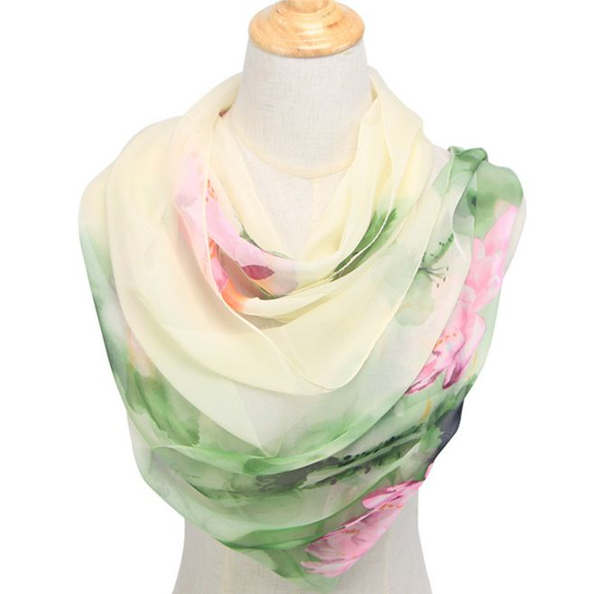 2019 primavera summwe chiffon cachecol feminino padrão design longo macio faux seda xale poliéster geométrica dança cachecol