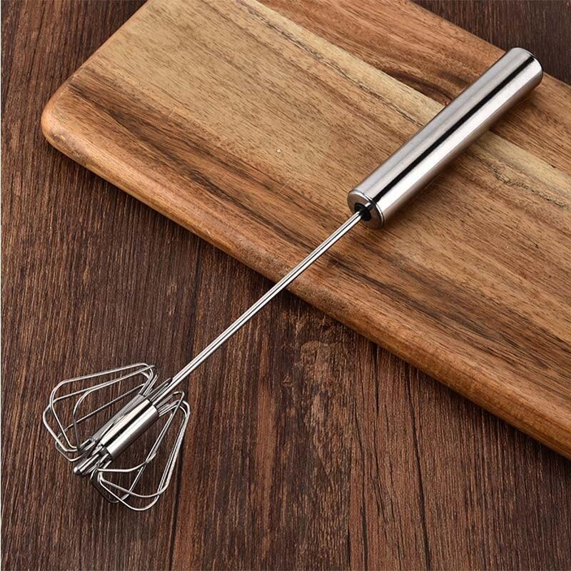 Batidor de huevos mezclador semiautomático de crema herramientas para mezclar utensilios de cocina de acero inoxidable giro automático Manual 1 pieza batidor de huevos