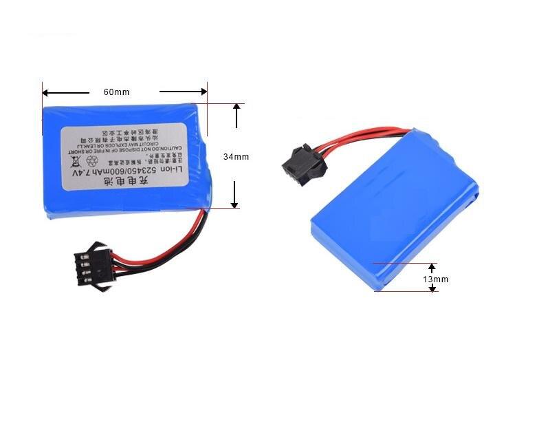 Yukala 7.4 v 600 mah li-ion bateria para e561 rc carro caminhão rc barco 4pcs