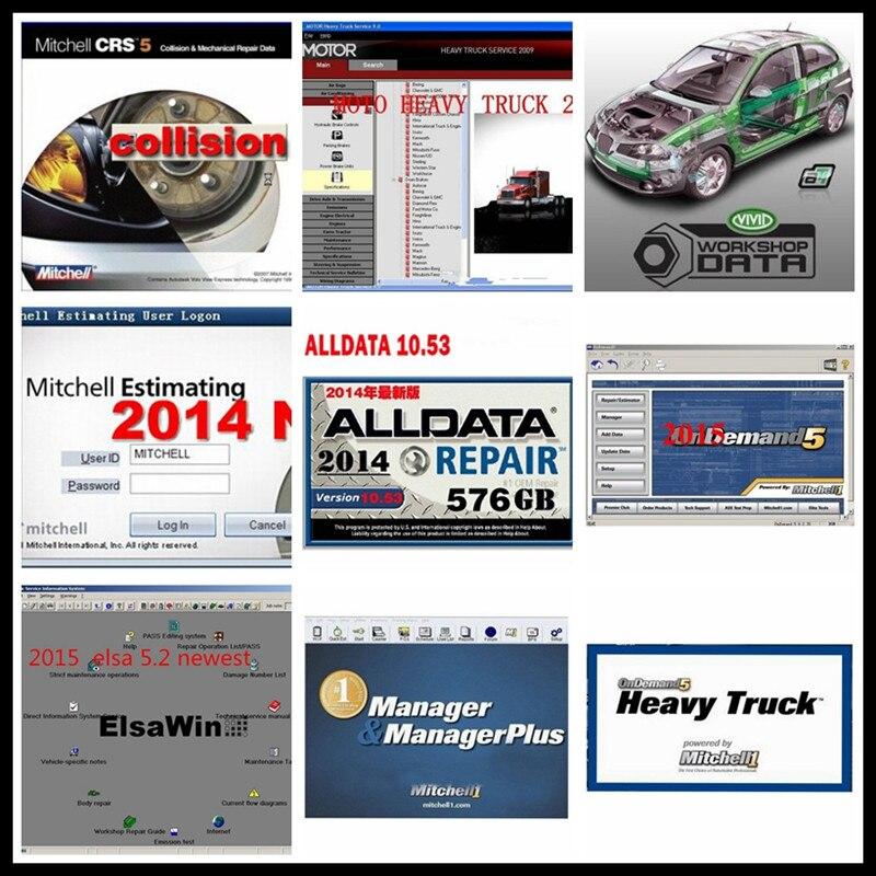 Alldata v10.53 software de reparación de automóviles Alldata + Mit/chell OD5 2015 + ElsaWin + atsg + Datos de taller vivo ect todos los datos 50 en 1TB HDD