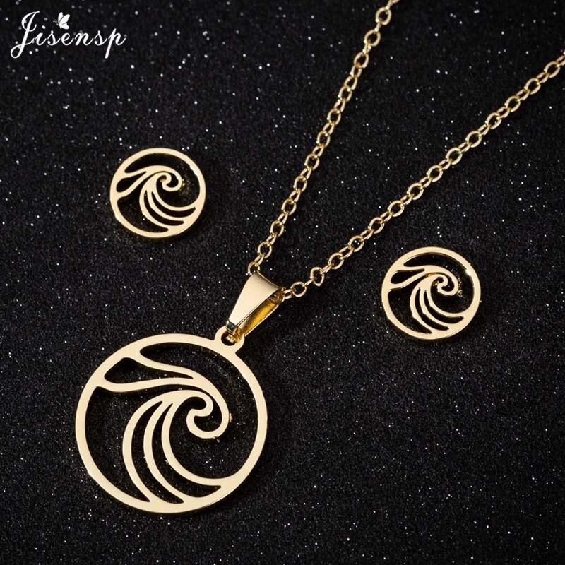 Jisensp, collar con colgante de moda para Surf en el mar, juegos de joyas para mujer, collares de ola de mar, pendientes redondos, collar para hombre, regalo de playa