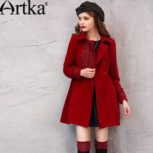 ARTKA hiver femmes laine manteau broderie survêtement col rabattu dames pardessus Vintage veste femme chaud manteau FA10242D