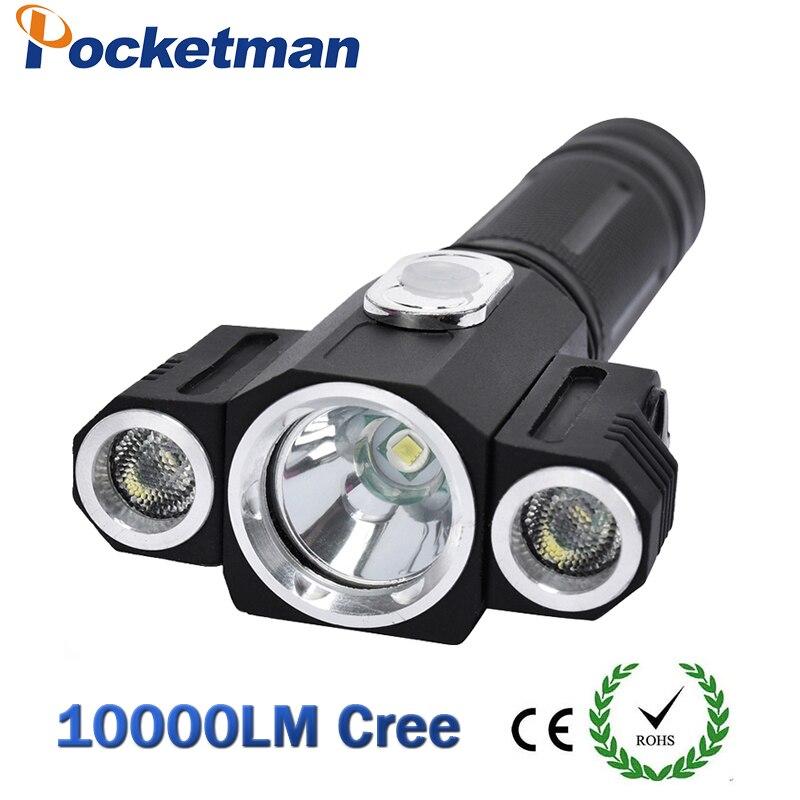 Linterna táctica de alta calidad, 3000 lúmenes, 3 LEDs rotativos, T6 + 2 x XPE, linterna LED, 5 modos, 18650 caza