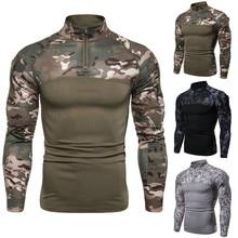 Camiseta táctica para hombres Dropshipping, camiseta de combate de camuflaje del ejército, camiseta de manga larga militar Airsoft, camisetas elásticas de Paintball
