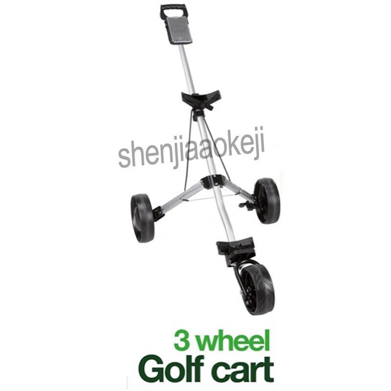3-wheels Push Pull Golf Cart Golf Pull Cart Golf Trolley Cart Aluminium alloy Foldable Trolley with Brake 1pc