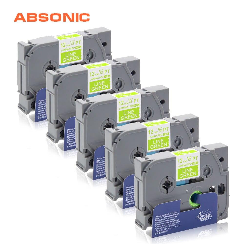 Absonic 5 PCS TZe-MQG35 Fabricante Da Etiqueta Para Substituir O Irmão-P toque TZe Fitas 12mm * 5 m Branco em Verde Limão PT-D210 PT-H110 Impressora Tag