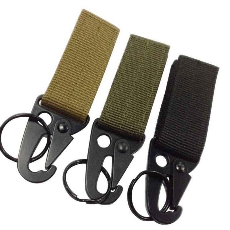Ganchos para bolsas militares para exteriores Kit de mosquetón de color caqui de ejército negro, cierre de supervivencia, gancho para mochila de nailon Olecranon