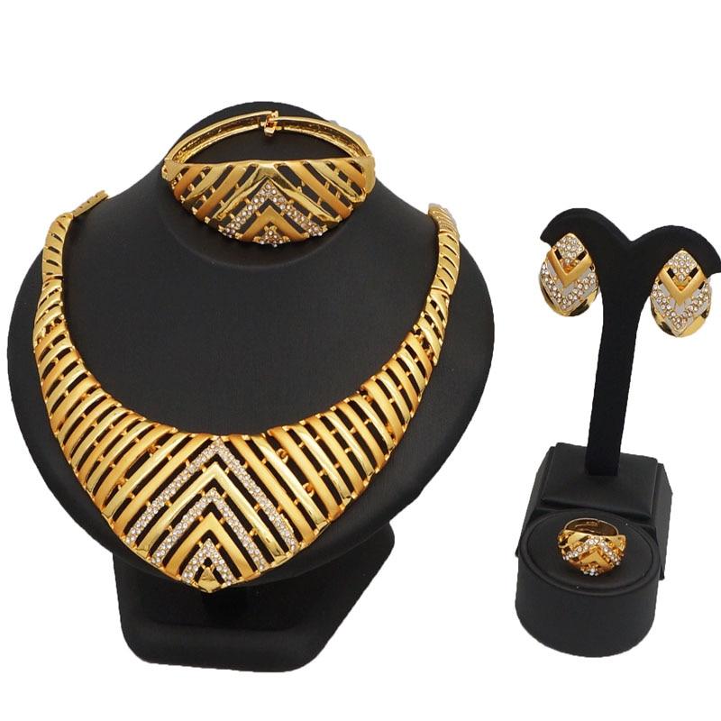 Ouro africano conjuntos de jóias de moda colar de CASAMENTO CONJUNTOS de jóias finas