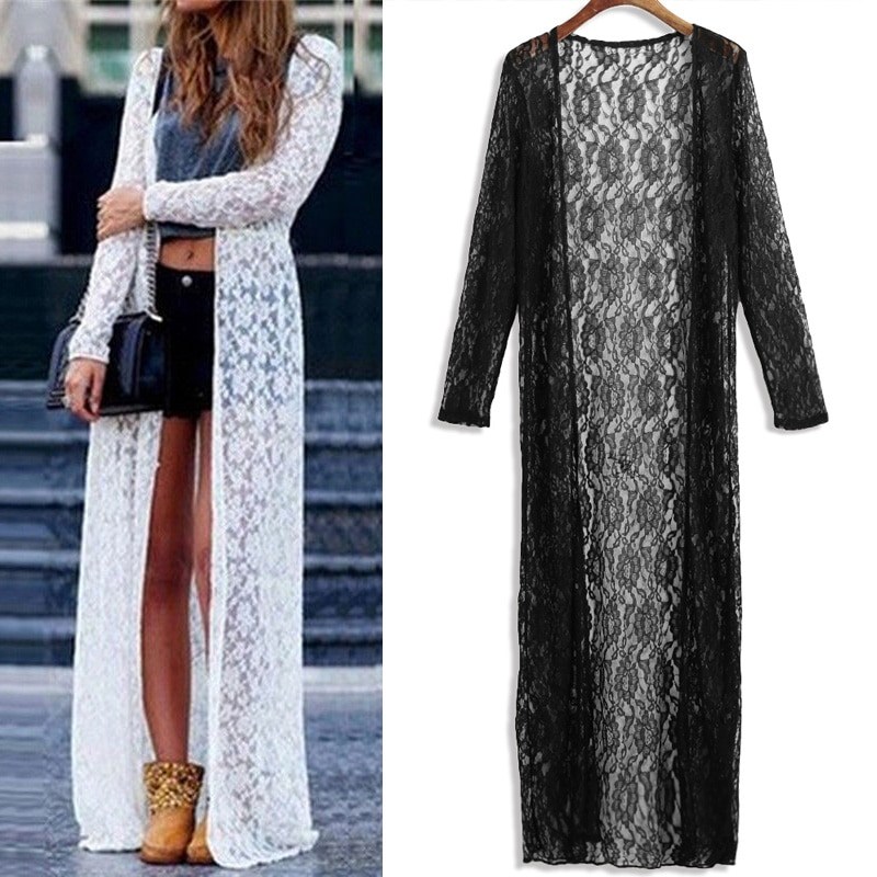 2021 Summer Beach Cover Up Plus Size 5XL Women Floral Lace Kimono Semi Sheer Solid Open Front Long Elegant Cardigan Mujer Tops plus guipure lace insert semi sheer blouse