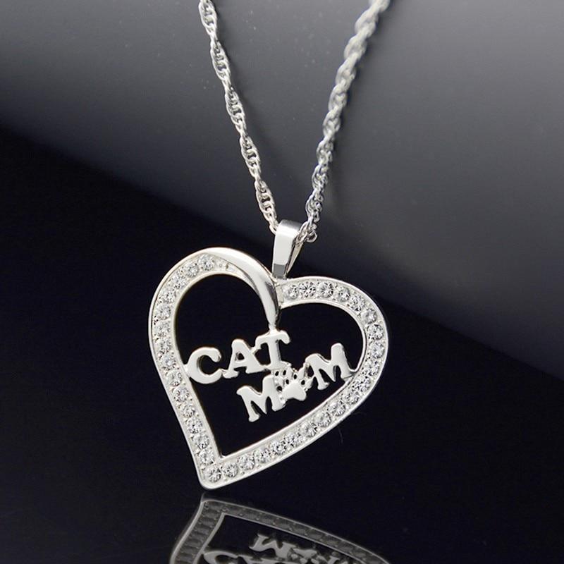 Pendiente de corazón de Zircón de cristal de gato de Color oro nuevo collar largo Boho Chic gato amante collar de moda joyería collar femenino