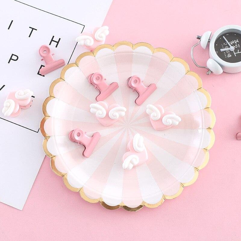 Clips de papel de Metal rosa Kawaii alas de Ángel lindo Clip de notas titular de la foto carpeta Clip sujetadores de papelería suministros escolares de oficina