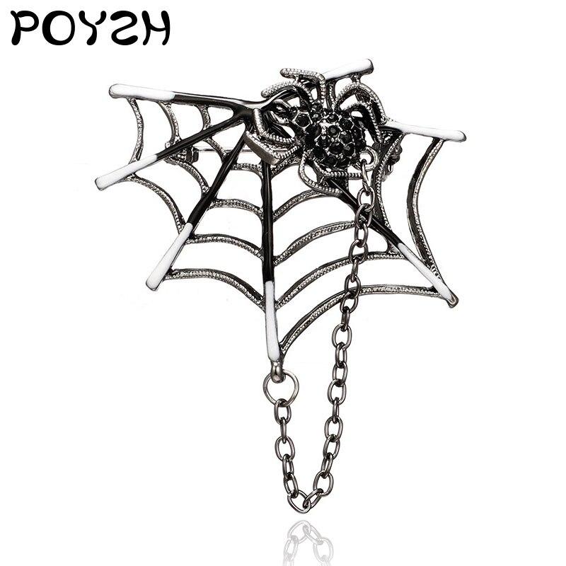 Küçük örümcek broş zinciri mineli yaka rozeti gümüş metal örümcek web zincir iğne dekoratif takı takım elbise ceket erkekler ve kadınlar