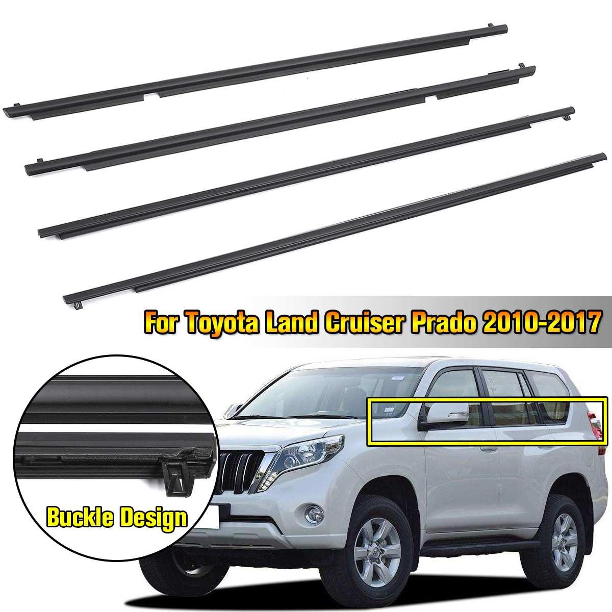 4 Uds. Ventana puerta cinturón moldura embellecedores clima-tira viento lluvia Deflector Set para Toyota Land Cruiser Prado 2010-2017