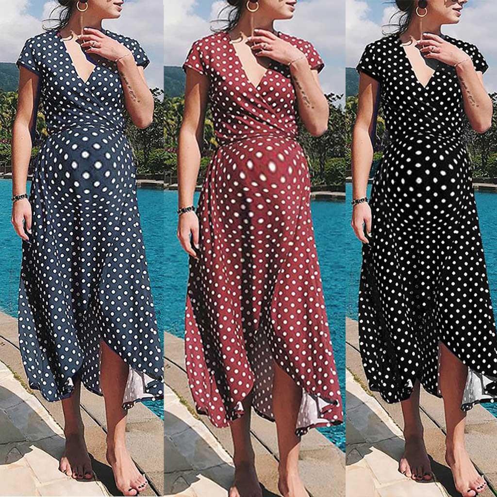Pregnancy Dress Women's Fashion Sexy Dot Printed V-Neck Long Dresses Maternity Dresses For Photo Shoot Ropa Premama Summer Dress