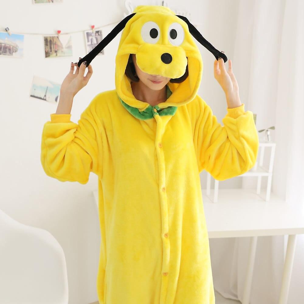 Niños adultos franela Onesie Unisex Anime dibujos animados mono con capucha Goofy Dog Cosplay traje Sleepware Pijamas