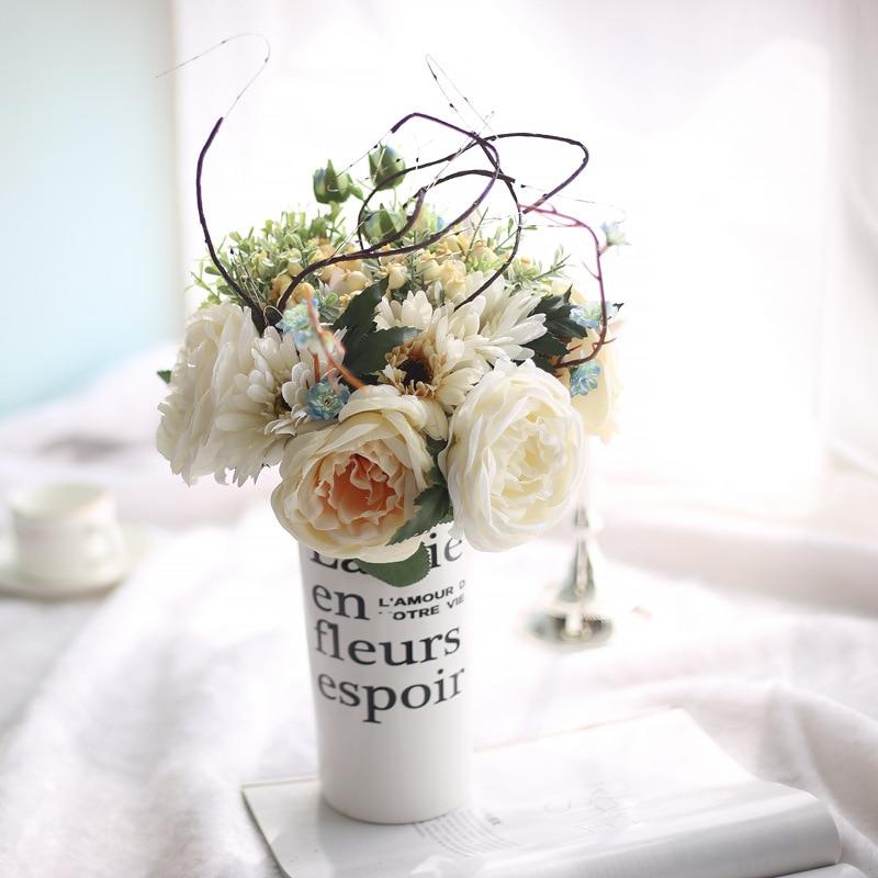 Rose Chou Lang Bouquet Roses Artificial Weeding Flowers Vivid Fake Leaf Bridal Orange Yellow Home Bedroom Garden Decoration