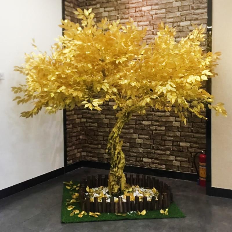شجرة اصطناعية اصطناعية شجرة تين البنغال الذهبي متمنيا شجرة مول نافذة زينة للعام الجديد