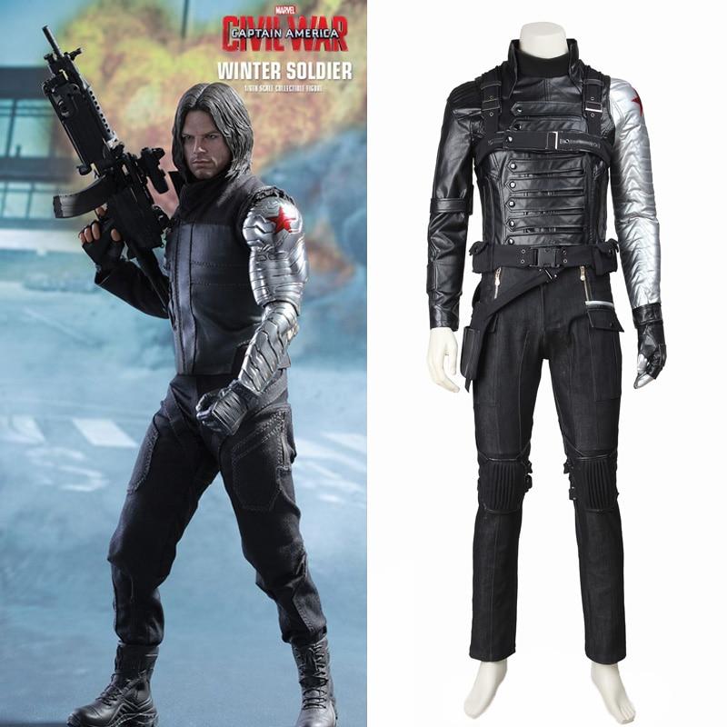 Winter Soldier Costume Captain America 2 Cosplay James Buchanan Bucky Barnes Costume Coat Outfit Superhero Halloween Custom Made