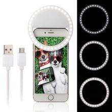 Téléphone Selfie anneau Flash Led lumière de remplissage lampe lentille caméra projecteur + USB câble de charge pour iphone X XS 8 Samsung S10 Xiaomi Huawei