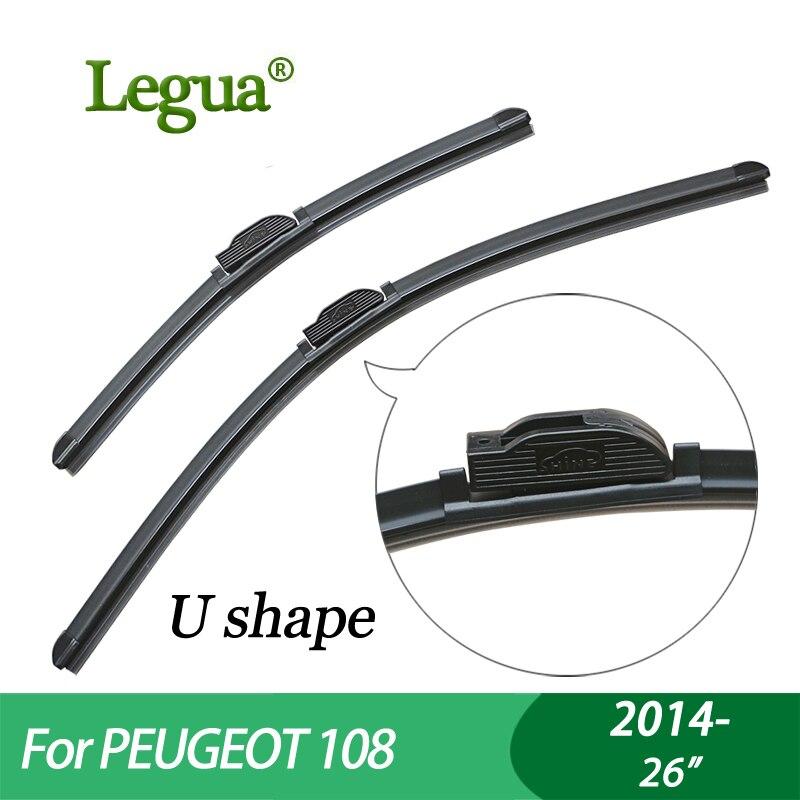 "Escobillas de limpiaparabrisas Legua para PEUGEOT 108 (2014-), 26 "", limpiaparabrisas para coche, sin hueso, limpiaparabrisas, accesorio para coche"