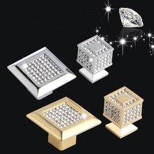 24K Real Gold of Chrome Tsjechische Kristal Lade Kast Knoppen Kast Deurklink Meubels Knoppen Handgrepen