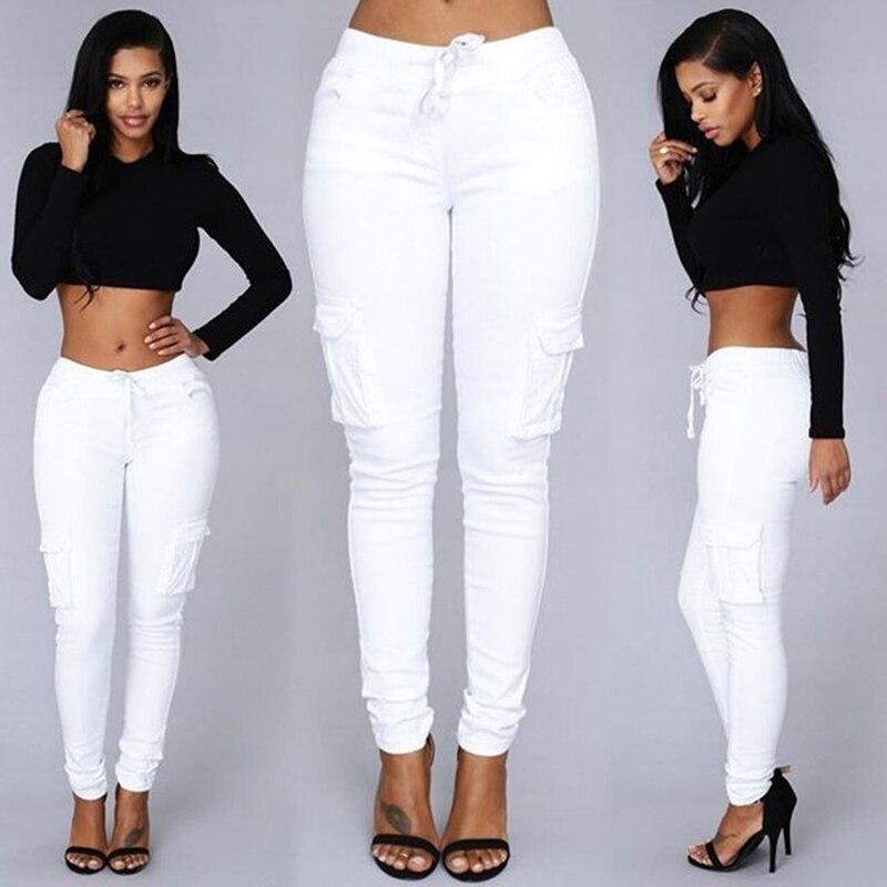JRNNORV pantalones vaqueros ajustados elásticos sexis de color blanco para mujer Leggings Jeans Mujer pantalones vaqueros de cintura alta de mujer de sección delgada de mezclilla