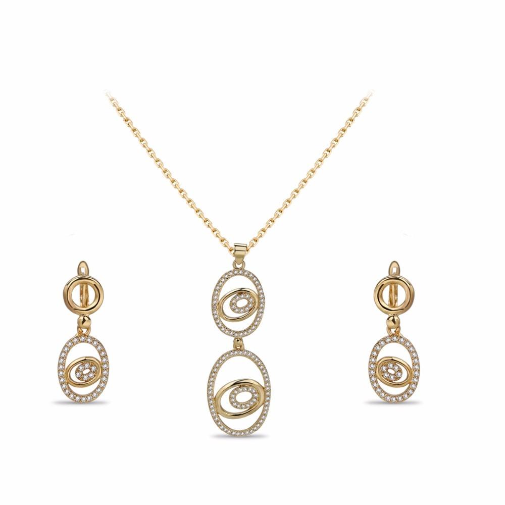 VANFI nueva moda de lujo flor collar/pendientes conjuntos de joyería Boda nupcial DUBAI oro conjuntos de joyería de color
