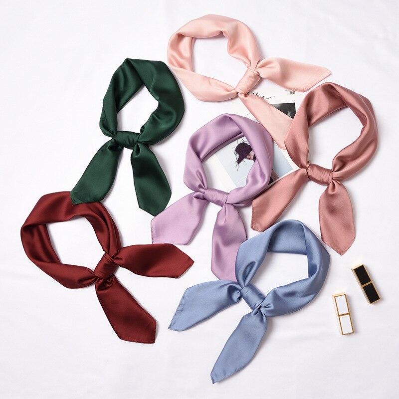 Bufanda cuadrada de seda pequeña a la moda de 70x70 cm para mujer, pañuelo liso ajustado para la cabeza, cinta de raso de pelo, pañuelo para la cabeza y el cuello