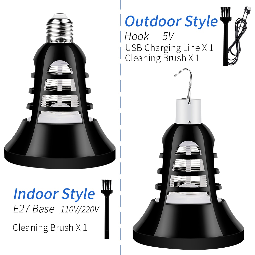 Lámpara LED E27 para exteriores, Mata mosquitos con USB, 220V, 5V, antimosquitos,...