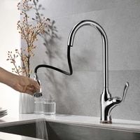 fashionable chrome plated kitchen faucet pull down cold and hot water faucet succinct high brass kitchen faucet with spray ms44