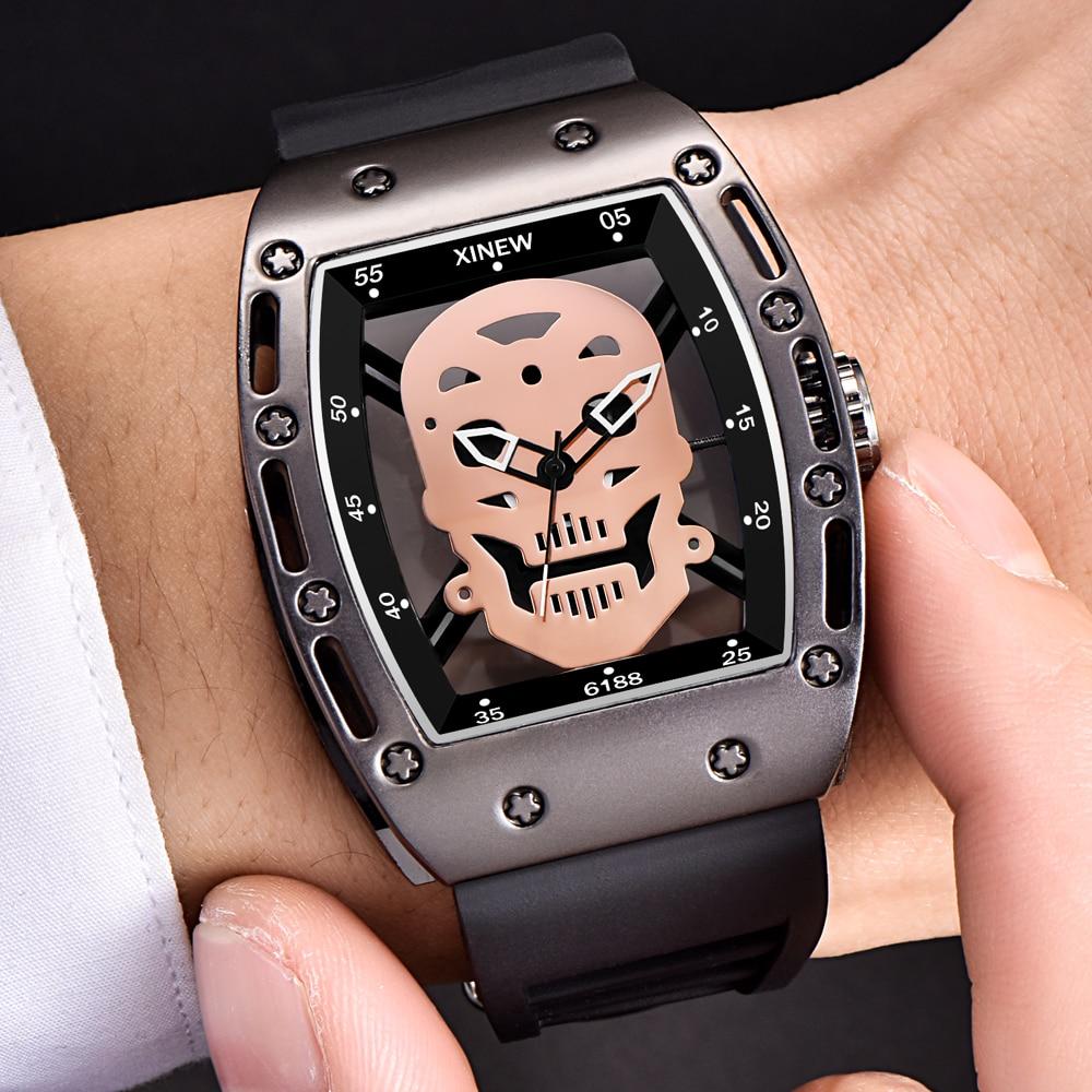 Big Watches Men Fashion Rubber Band Gifts Clock Male Luxury Brand Military Quartz Wrist Watch Shantou Skeleton Future Watch dz