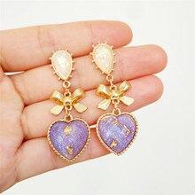 Женские классические серьги, металлические серьги-пусеты с бантом и сердечком из смолы золотого и персикового цветов