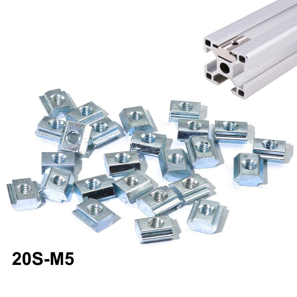 50 шт./упаковка, детали для 3D-принтера с ЧПУ, серия 2020, M5, гайки из углеродистой стали, алюминиевый соединитель для промышленного профиля 2020