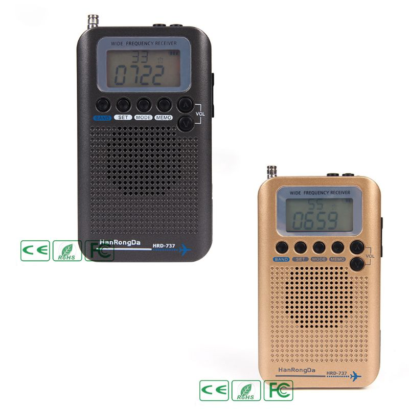 HRD-737 Digital LCD Display Full Band Radio Portable FM/AM/SW/CB/Air/VHF World Band Stereo Receiver Radio with Alarm Clock