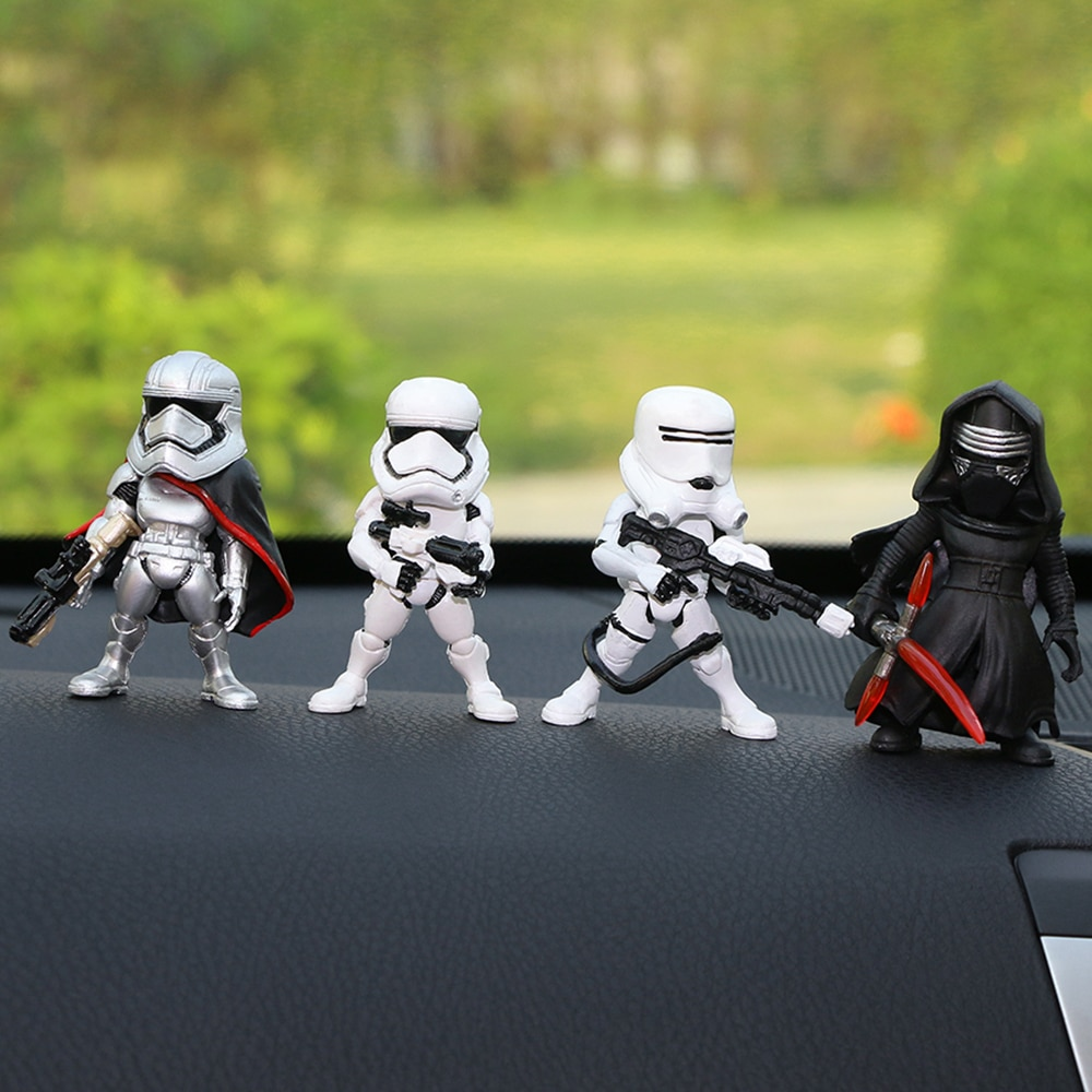 4pcs/set Car Ornaments For Star Wars Kylo Ren Phasma Stormtrooper Action Figure Doll Automobiles Interior Cute Decoration Toys