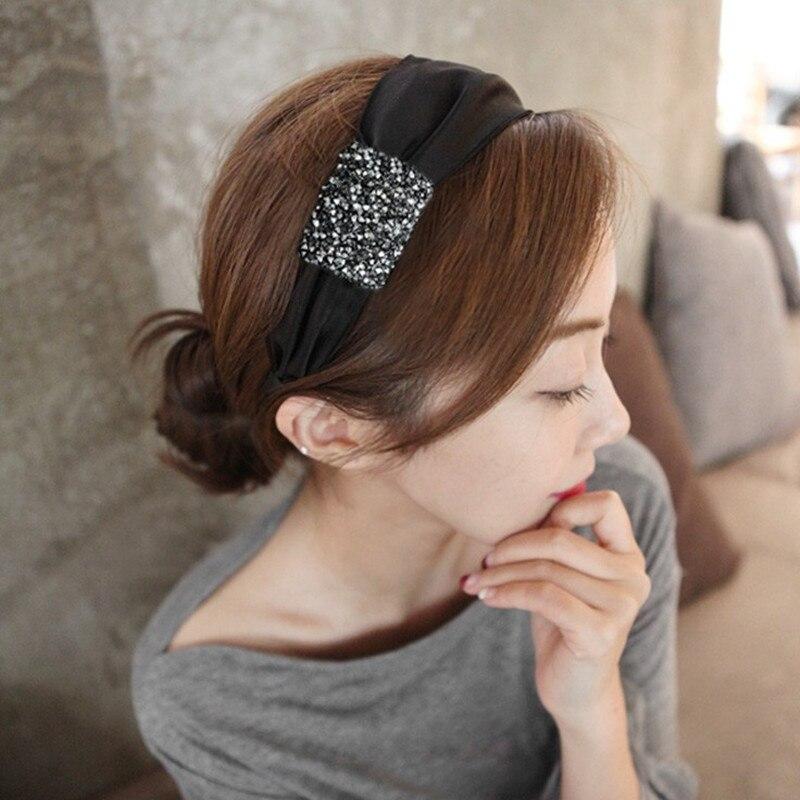 New High-end  hair accessories diamond super flash solid color fabric wide-brimmed headband headband hair band headwear women