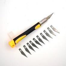 Couteau à Découper en bois Outils Fruits Alimentaire Artisanat Sculpture Gravure Outils À Main Poignée antidérapante avec 10 pièces SK5 Lames