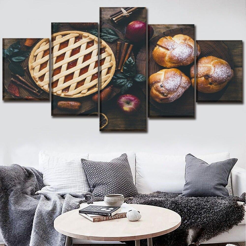 Cuadro de pared de lienzo moderno arte decorativo para el hogar 5 piezas de fruta manzanas y pastel de pastelería cartel de comida impresión HD pintura Modular