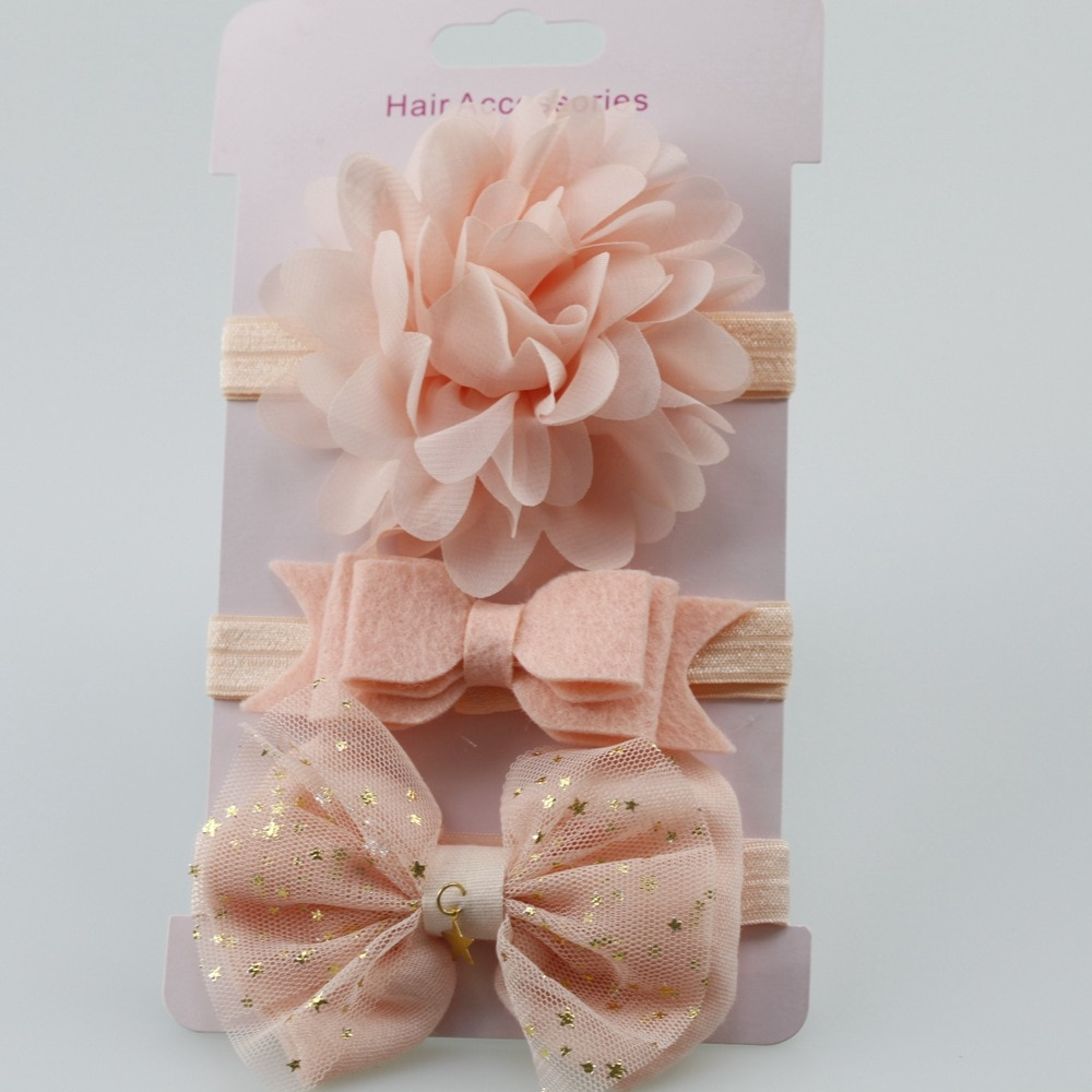 3 Pcs/lot Handmade solid Nylon Headband With 9 colors Bow For cute Kids Girls Hair Accessories High