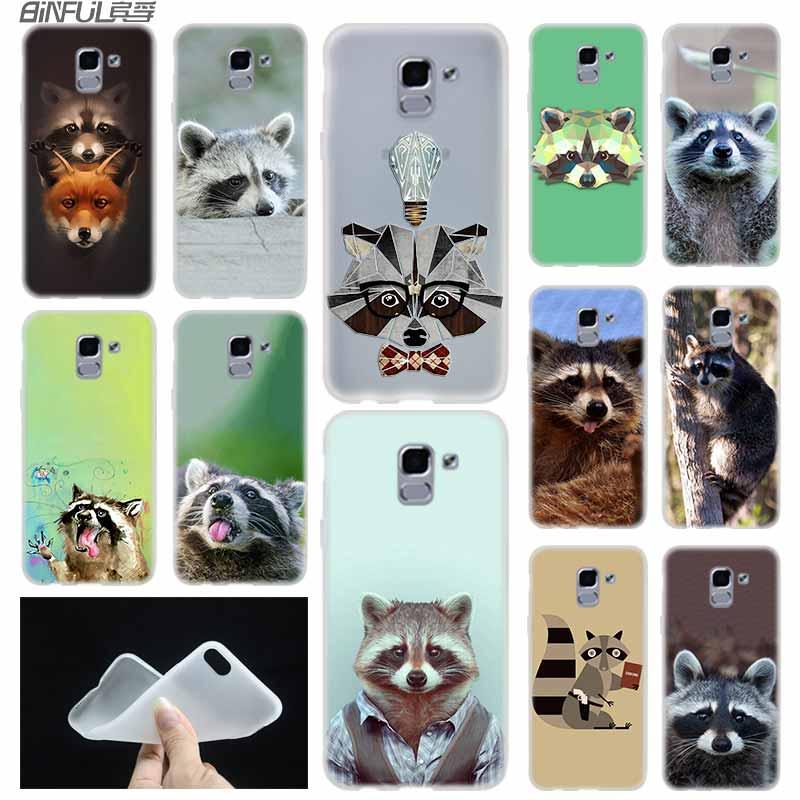 Geometric Raccoon Zoo case Cover TPU Silicone Coque For Samsung Galaxy J6 J8 J3 J5 J7 J4 J2 J1 Plus 2018 2016 2017 EU Prime Ace