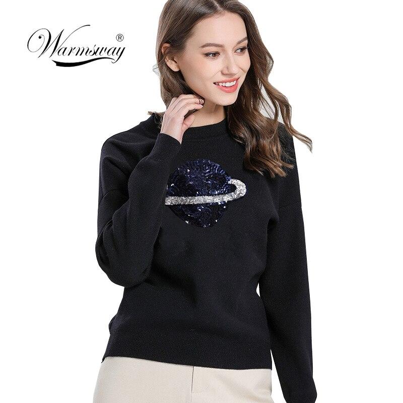 2019 Halajuku Viscose mélange planète pailleté perles Pull Pull Slim ajusté Pull Femme casual à manches longues Femme hauts C-375