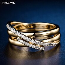 Budong 탑 새로운 골동품 모자이크 aaa 지르콘 크리스탈 빈티지 골드 컬러 크로스 반지 여성 웨딩 손가락 럭셔리 bijoux xur580